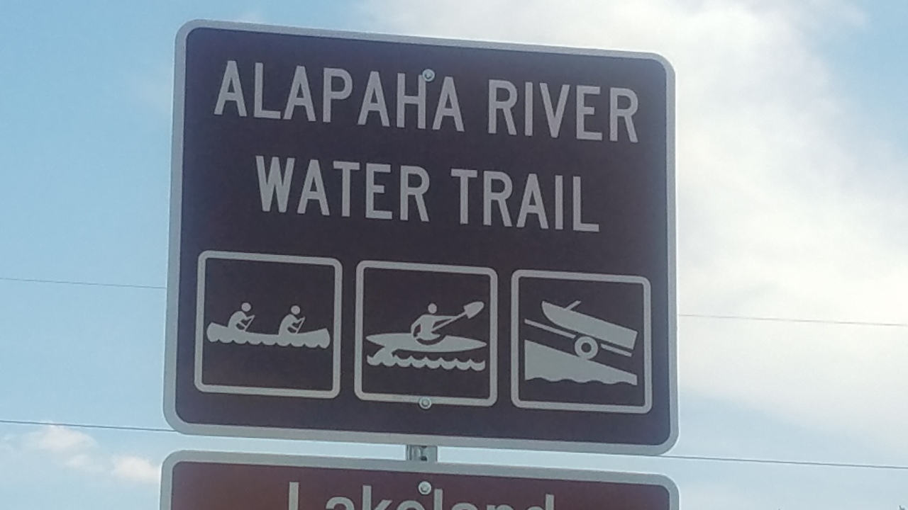 1280x720 Alapaha River Water Trail, Eastbound, in Lakeland Boat Ramp road signs, by John S. Quarterman, for WWALS.net, 26 April 2018