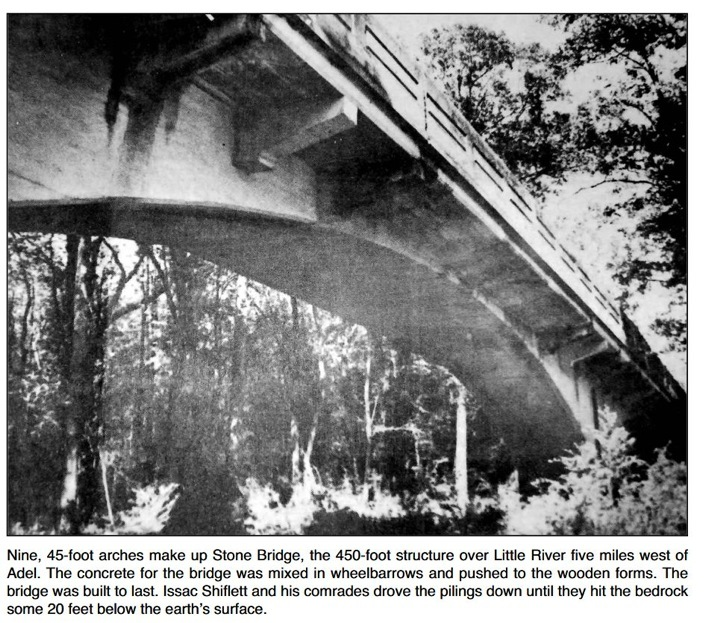 709x623 Adel News Tribune, 1 Oct 2014, Page 9-A, Stone Bridge, in Canoeing from the Little to the Chee, by Burt Kornegay, for WWALS.net, 24 March 2018