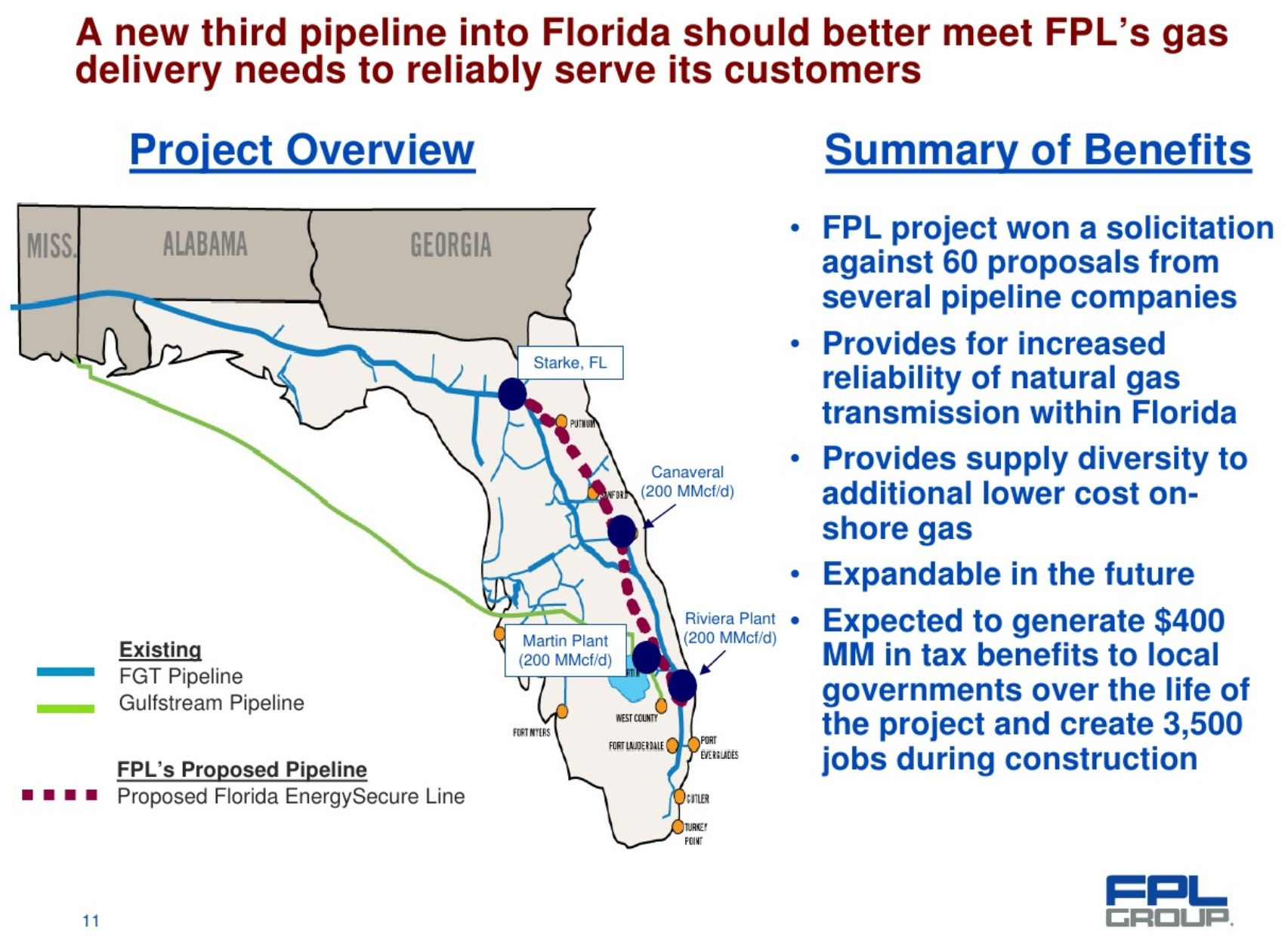 1705x1245 Proposed Florida EnergySecure Line, Map, in Earnings Call slides Q1 2009, by FPL, for WWALS.net, 28 April 2009