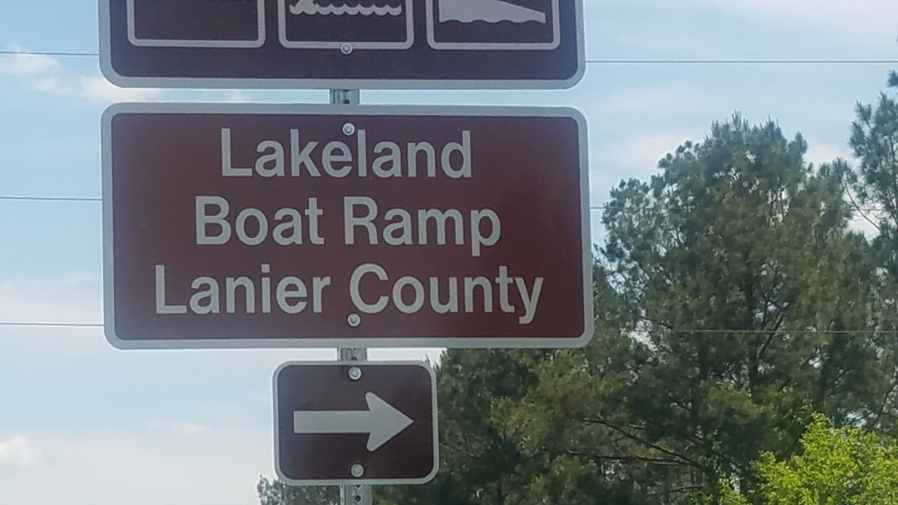 1280x720 Lakeland Boat Ramp Lanier County, Eastbound, in Lakeland Boat Ramp road signs, by John S. Quarterman, for WWALS.net, 26 April 2018