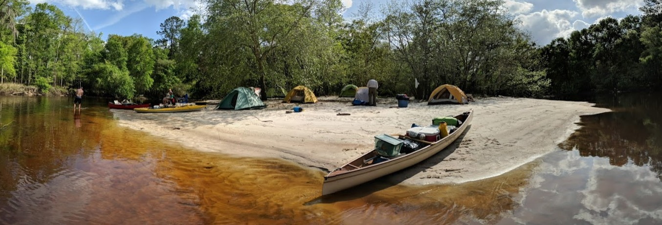 1354x460 First Camp: a beach on a point, Pictures, in Canoeing the Alapaha, April 2018, by Robert Marshall, for WWALS.net, 12 April 2018