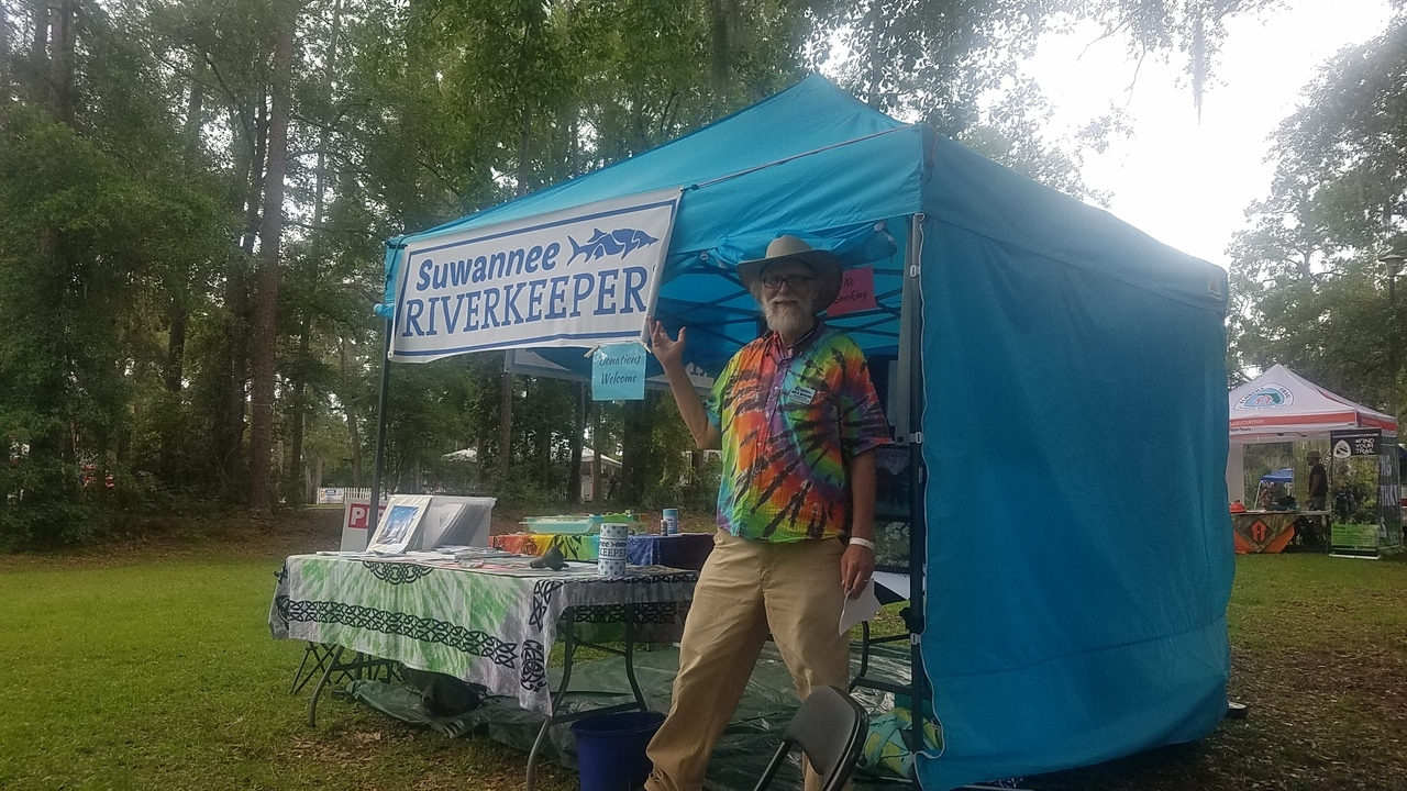 1280x720 Suwannee Riverkeeper, Tent, in Florida Folk Festival Saturday, by John S. Quarterman, for WWALS.net, 26 May 2018