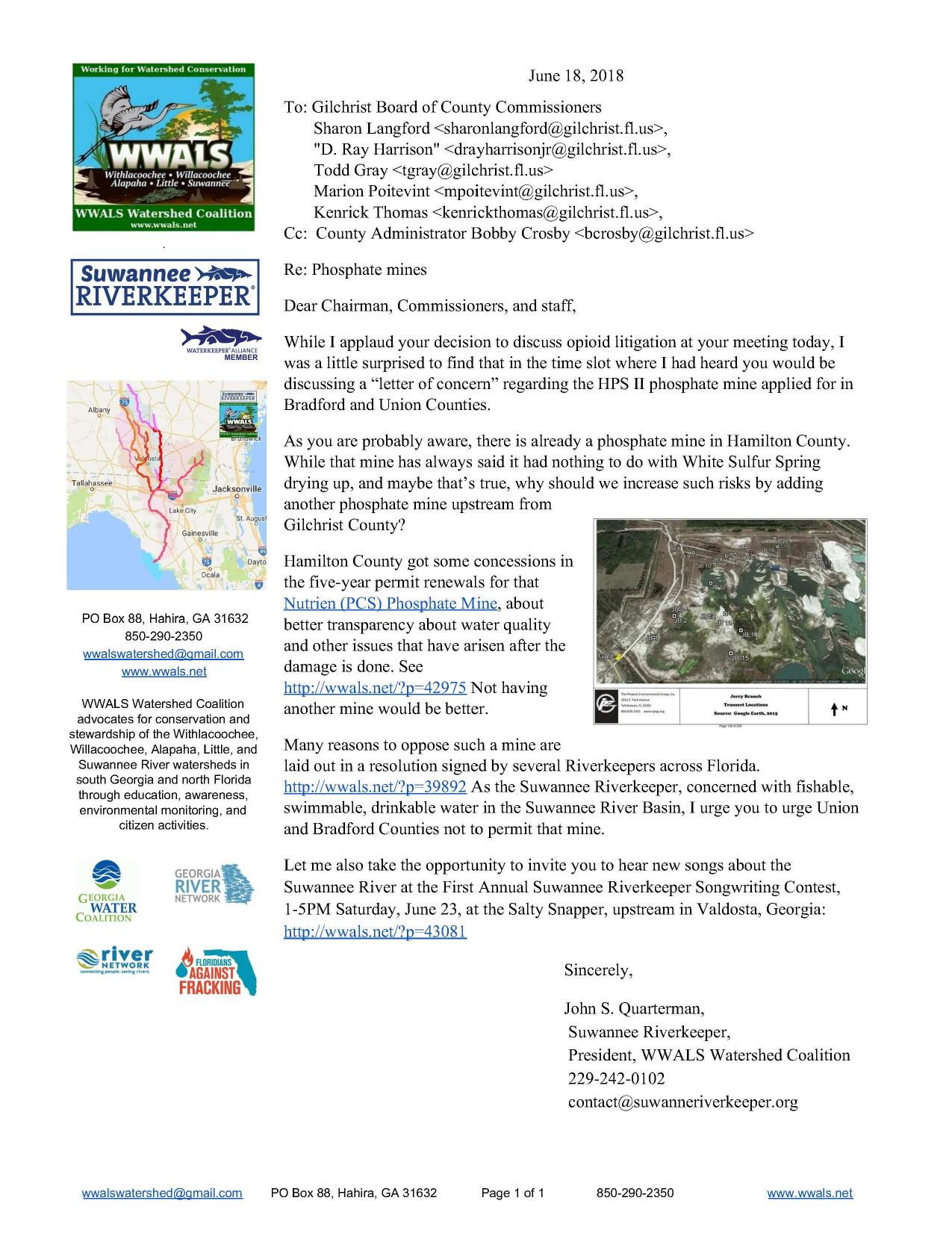 1275x1651 I urge you to urge Union and Bradford Counties not to permit that mine., Letter, in WWALS to Gilchrist County Re: Phosphate Mines, by John S. Quarterman, for WWALS.net, 18 June 2018