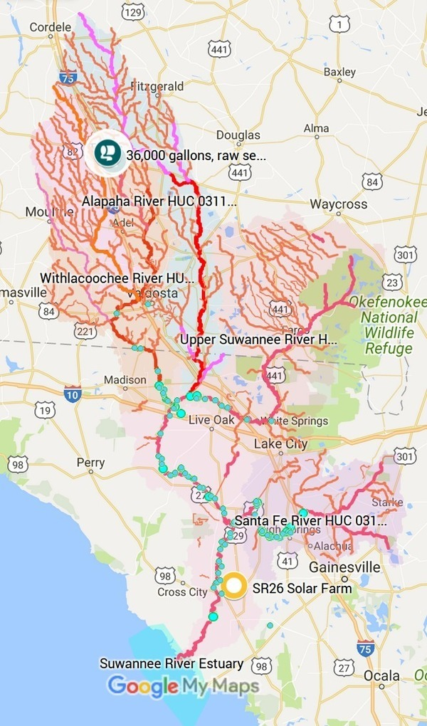 Spills located in Suwannee River Basin, Maps