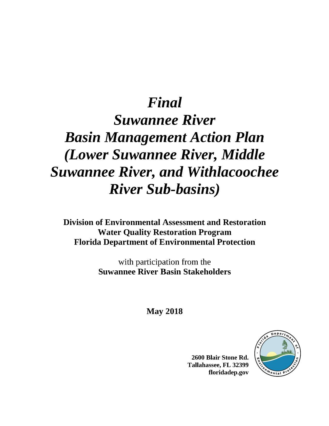 1275x1651 Cover, Front, in Final Suwannee River BMAP, by FDEP, for WWALS.net, 22 May 2018