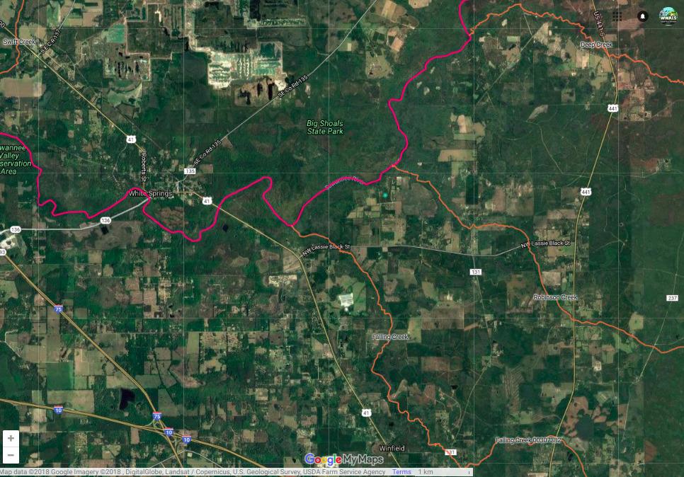 966x674 Nutrien, Suwannee River, Falling Creek, Deep Creek, Map, in Nutrien phosphate prospecting in Columbia Co. FL 1980s, by John S. Quarterman, for WWALS.net, 11 July 2018