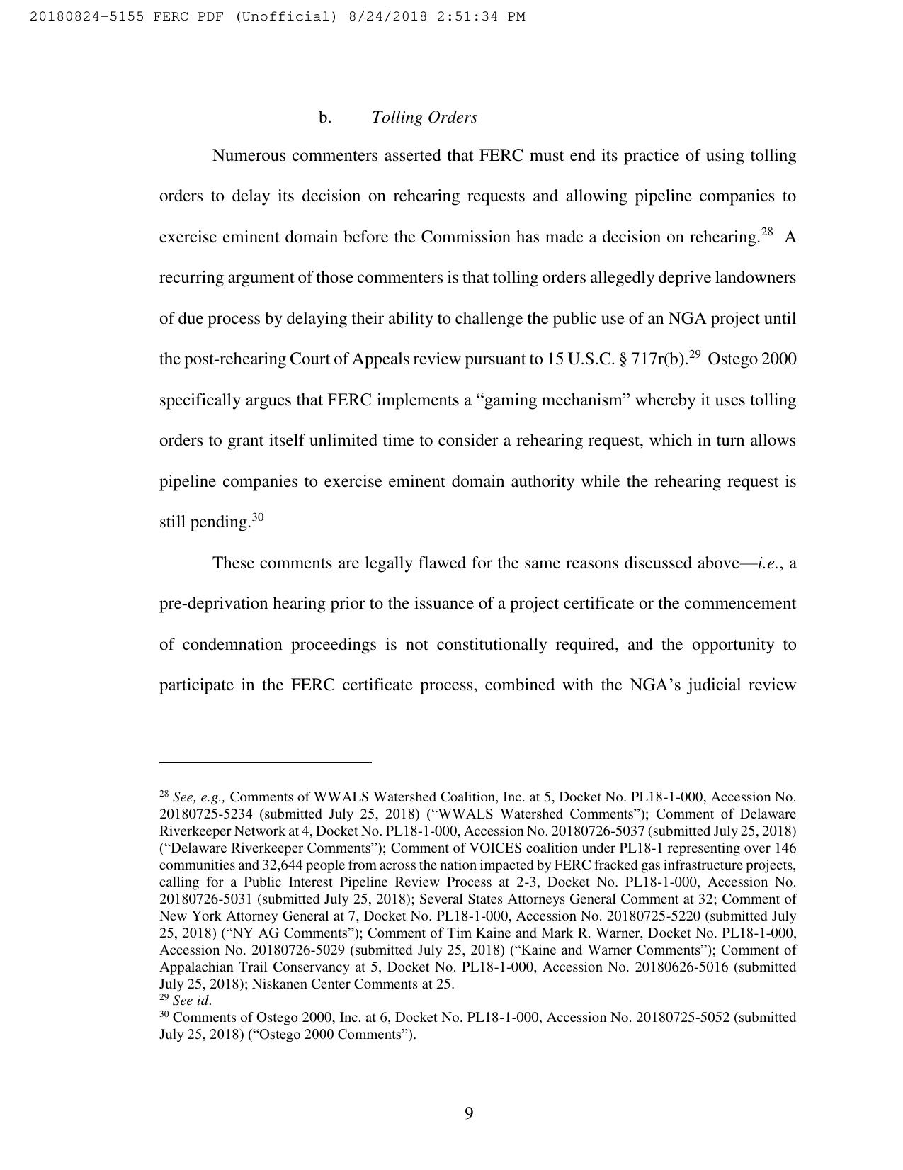1275x1651 Page 9: Tolling Orders, Pages, in Spectra responds for FERC in pipeline certificate rulemaking, by Spectra Energy Partners, for WWALS.net, 25 August 2018