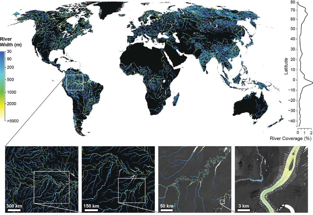 1280x879 Fig. 1. Global River Widths from Landsat (GRWL) Database, Figure, in Rivers bigger and more important that previously thought, by John S. Quarterman, for WWALS.net, 28 June 2018
