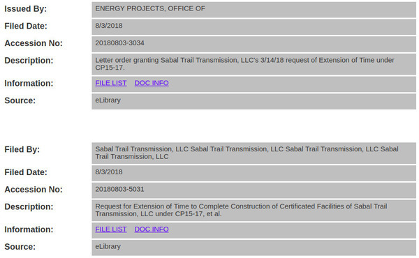 FERC approval before Sabal Trail request, Docket CP15-17