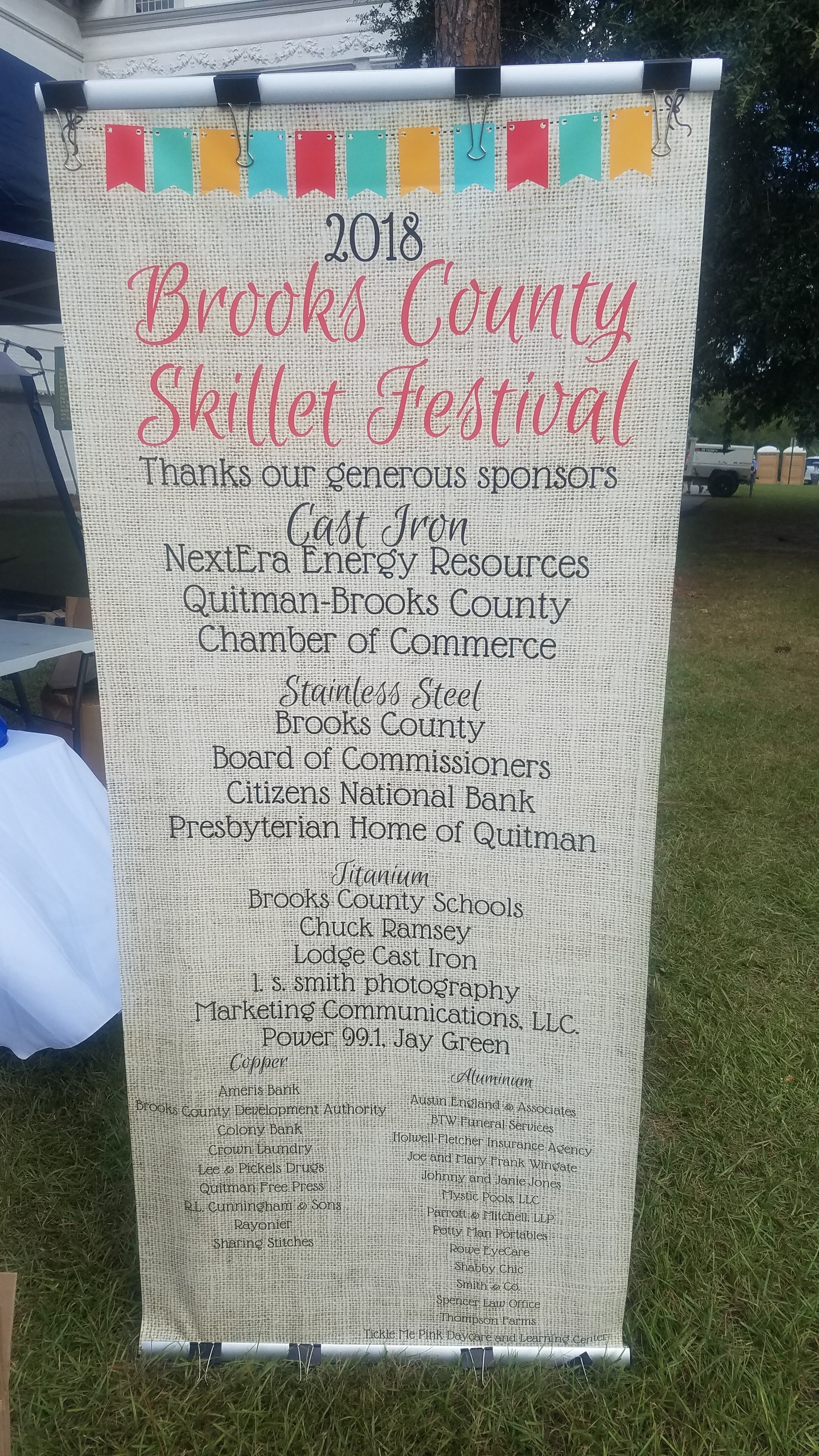 2268x4032 Sponsors, Festival, in Pictures: Brooks County Skillet Festival, by John S. Quarterman, for WWALS.net, 20 October 2018