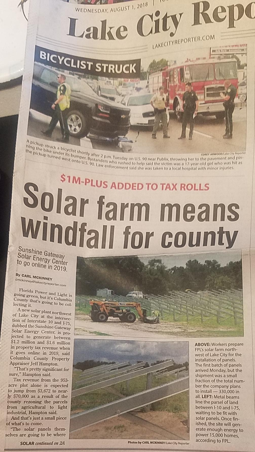1006x1780 Continued, Newspaper, in Solar Windfall for Columbia County, by Lake City Reporter, for WWALS.net, 7 August 2018