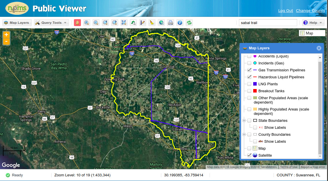 1127x624 PHMSA Suwannee County, Florida, Maps, in WWALS to PHMSA: Sabal Trail Map and Hildreth Compressor Station Leak, by John S. Quarterman, for WWALS.net, 19 December 2018