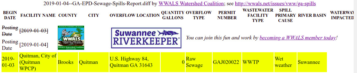 1162x239 GA-EPD spreadsheet 2019-01-03, Report, in Quitman LAS spills again, by John S. Quarterman, for WWALS.net, 3 January 2018