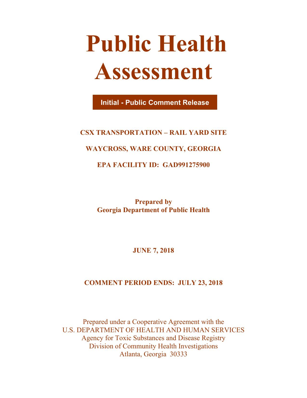 1275x1651 Cover, Pages, in Public Health Assessment of Rice Rail Yard, Waycross, GA, by John S. Quarterman, for WWALS.net, 7 June 2018