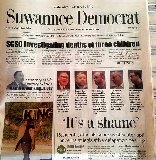 Front Page, Suwannee Democrat