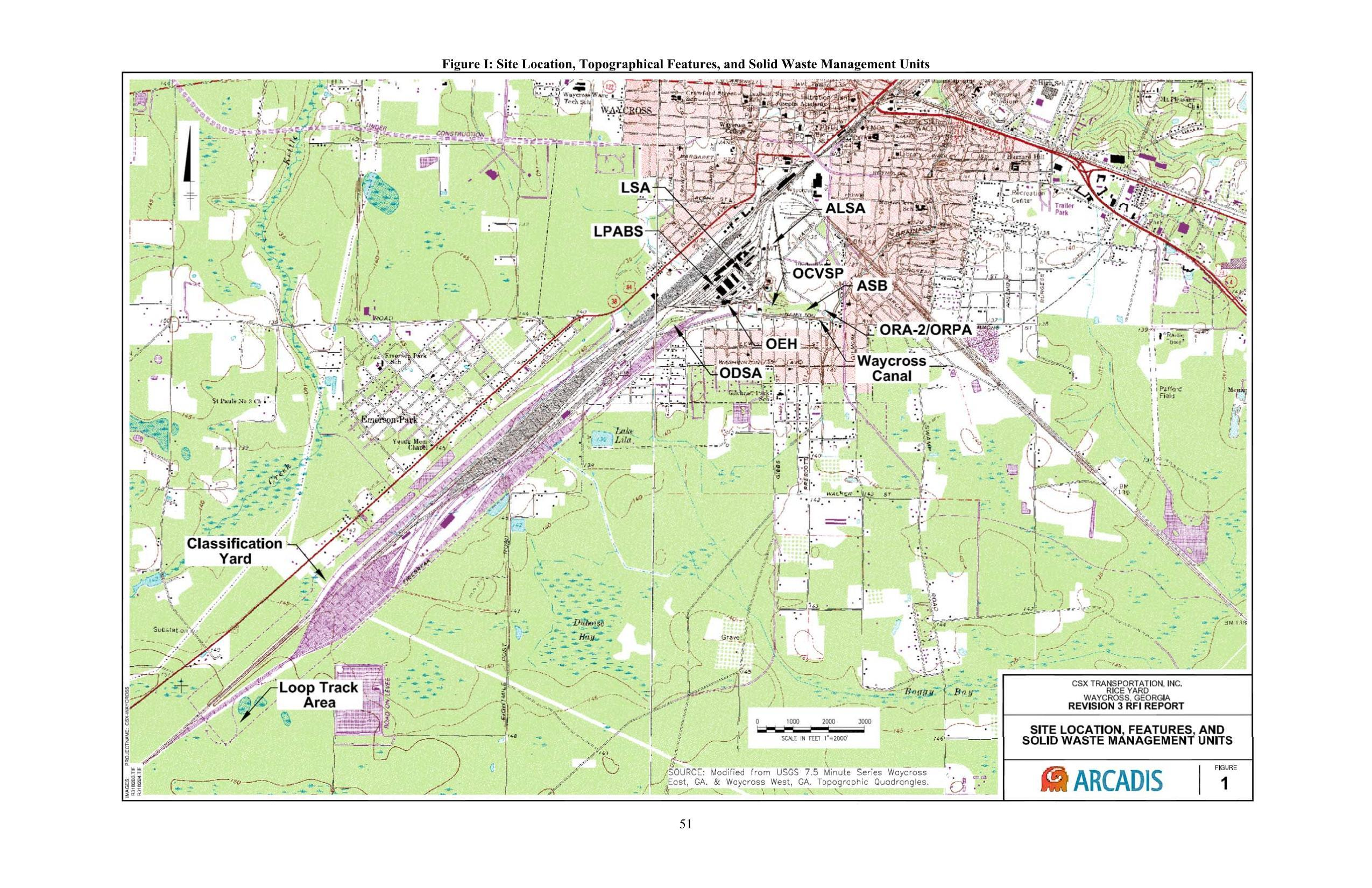 2550x1651 Figure I: Site Location, Topographical Features, and Solid Waste Management Units, Pages, in Public Health Assessment of Rice Rail Yard, Waycross, GA, by John S. Quarterman, for WWALS.net, 7 June 2018