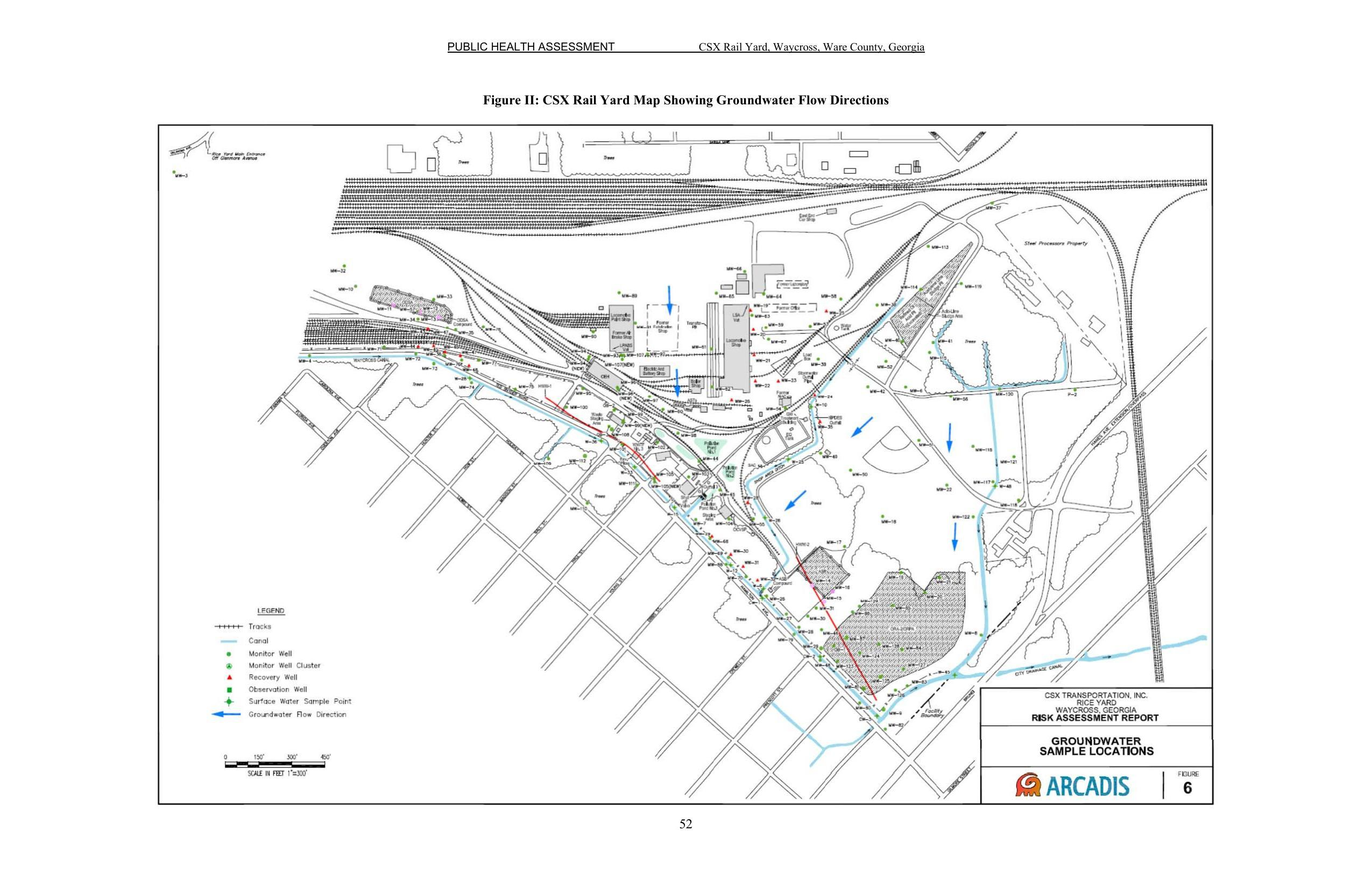 2550x1651 Figure II: CSX Rail Yard Map Showing Groundwater Flow Directions, Pages, in Public Health Assessment of Rice Rail Yard, Waycross, GA, by John S. Quarterman, for WWALS.net, 7 June 2018