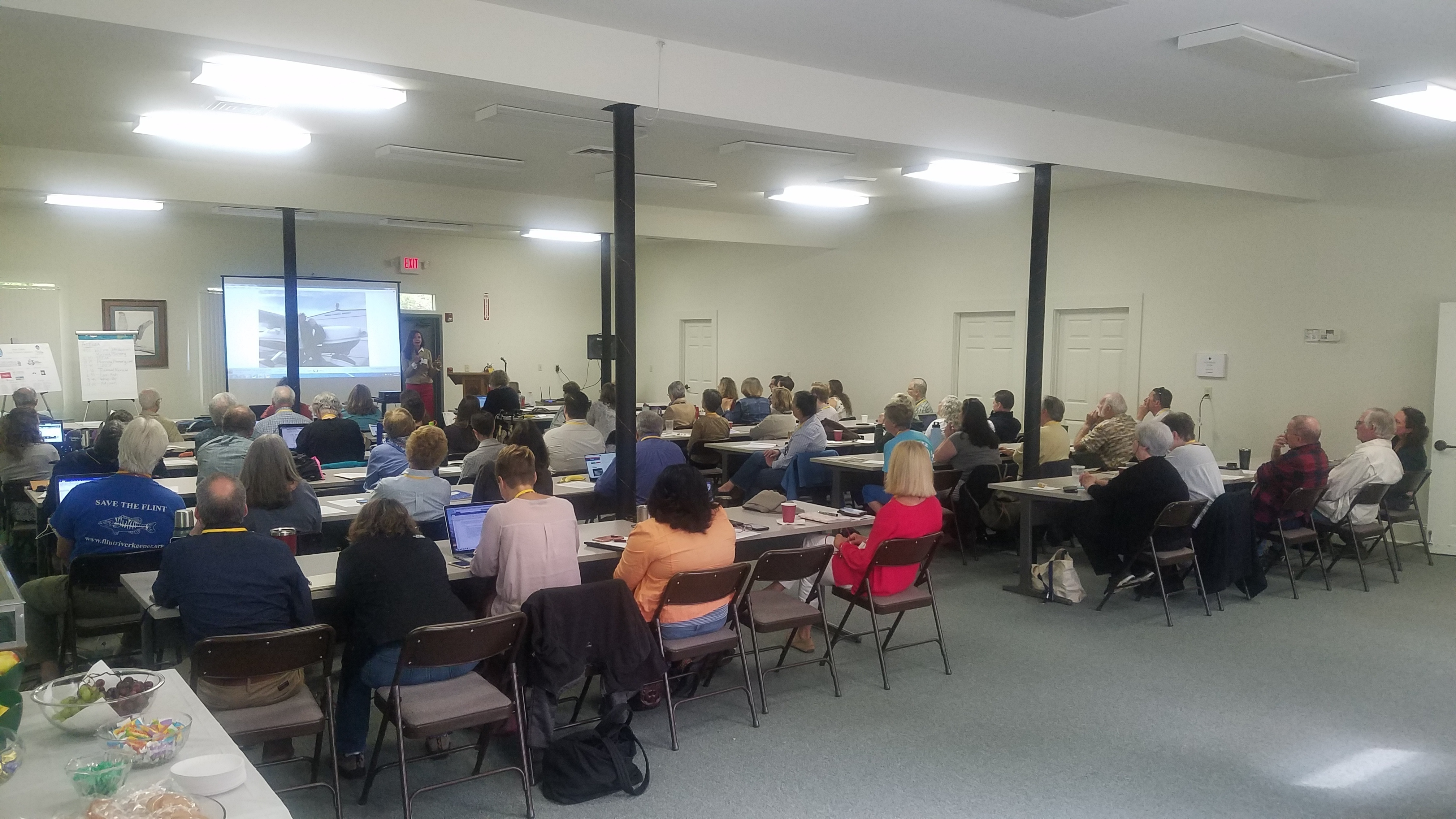 4032x2268 Speaking: Rena Peck Stricker, E.D., Georgia River Network, Attendees, in Georgia Water Coalition Spring Partner Meeting, by John S. Quarterman, for WWALS.net, 24 April 2019