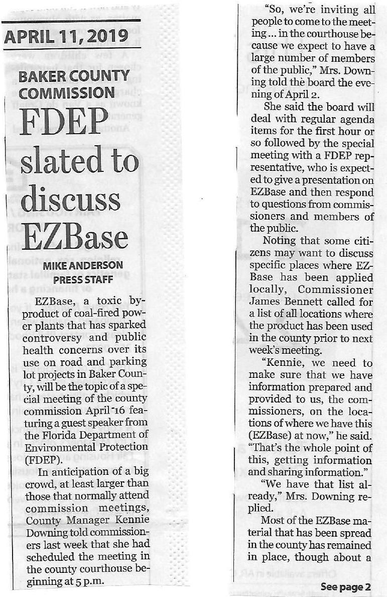 771x1188 Page 1: FDEP summoned by BOC, Baker County Press, in FDEP summoned to Baker County about JEA EZBase coal ash byproduct , by John S. Quarterman, for WWALS.net, 16 April 2019