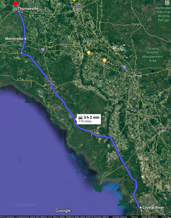 Aerial Google map, Crystal River to Monticello and Thomasville