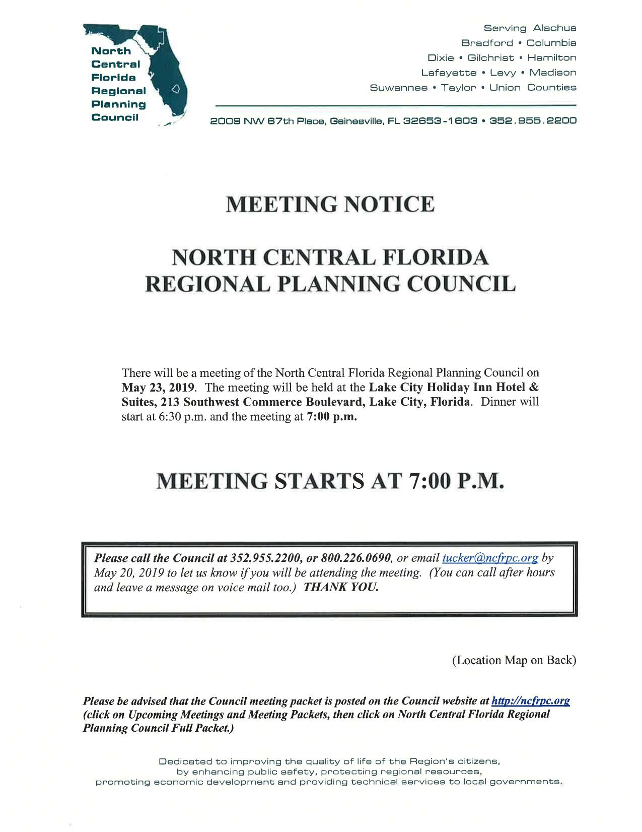 1275x1651 Meeting Notice, Packet, in NCFRPC Meeting, Lake City, FL, by John S. Quarterman, for WWALS.net, 23 May 2019