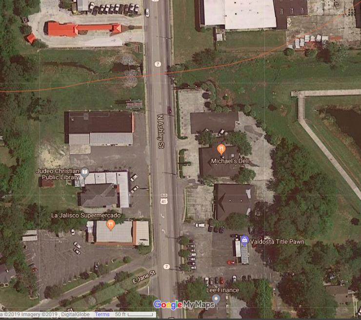 740x657 Google Map, Ashley Street, in Sewage spill, Ashley Street, Valdosta, GA, by John S. Quarterman, for WWALS.net, 19 June 2019