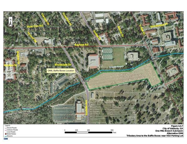 Map: Brookdale Drive and VSU parking lot