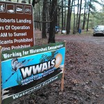 1600x1200 WWALS banner at Red Roberts Landing, in Start to Finish, by John S. Quarterman, for WWALS Watershed Coalition, Inc., 29 March 2014