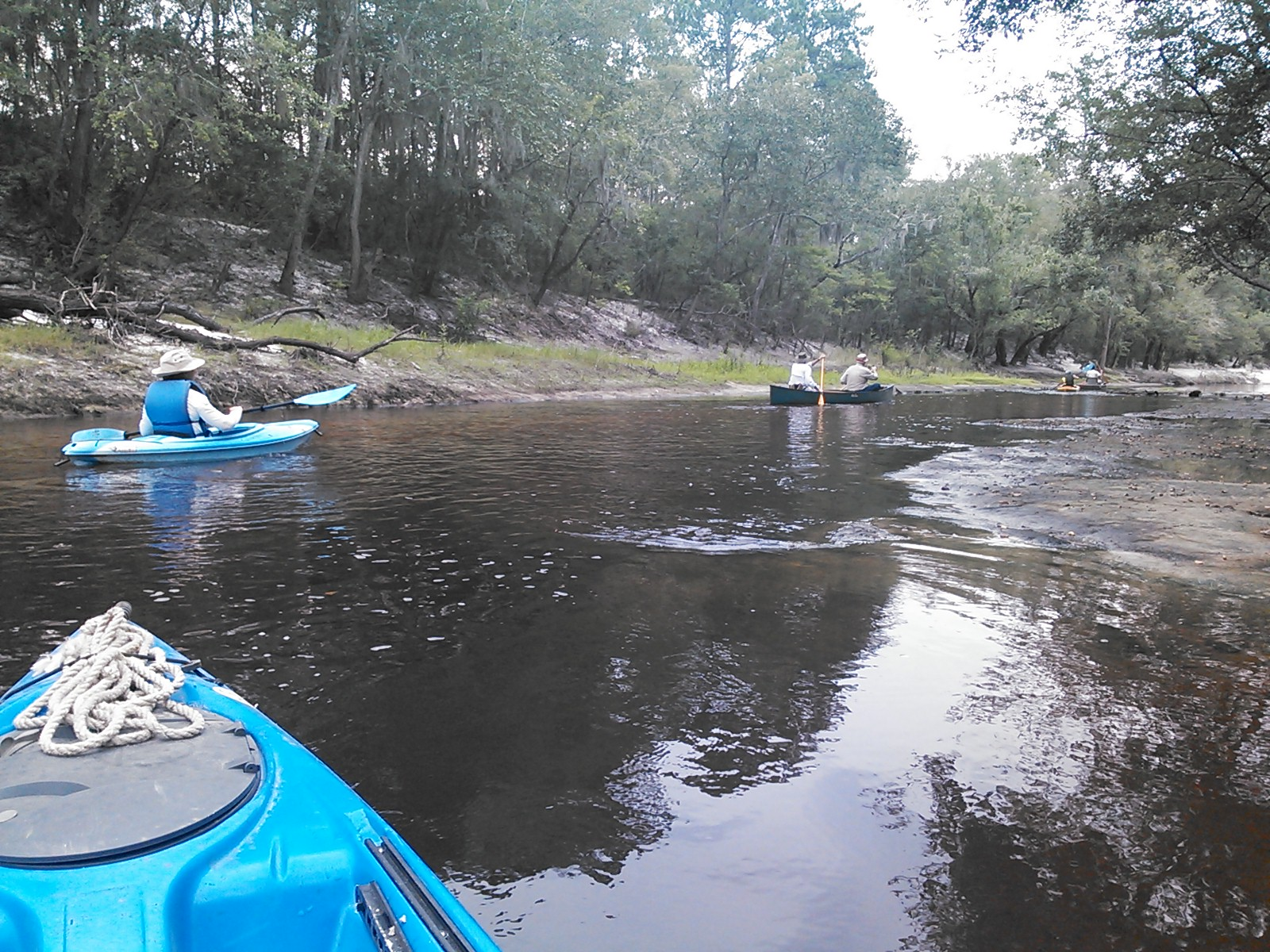 1600x1200 Gretchen Quarterman @ shoals, in Alapaha River Outing, by John S. Quarterman, for WWALS.net, 24 August 2014