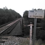 1600x1200 CSX No Trespassing on bridge, in Alapaha River Outing, by John S. Quarterman, for WWALS.net, 24 August 2014