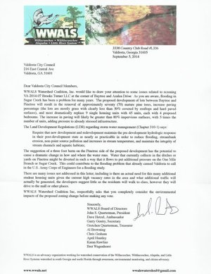300x389 Letter, in Rezoning Water Issues in Valdosta, by WWALS, for WWALS.net, 8 September 2014