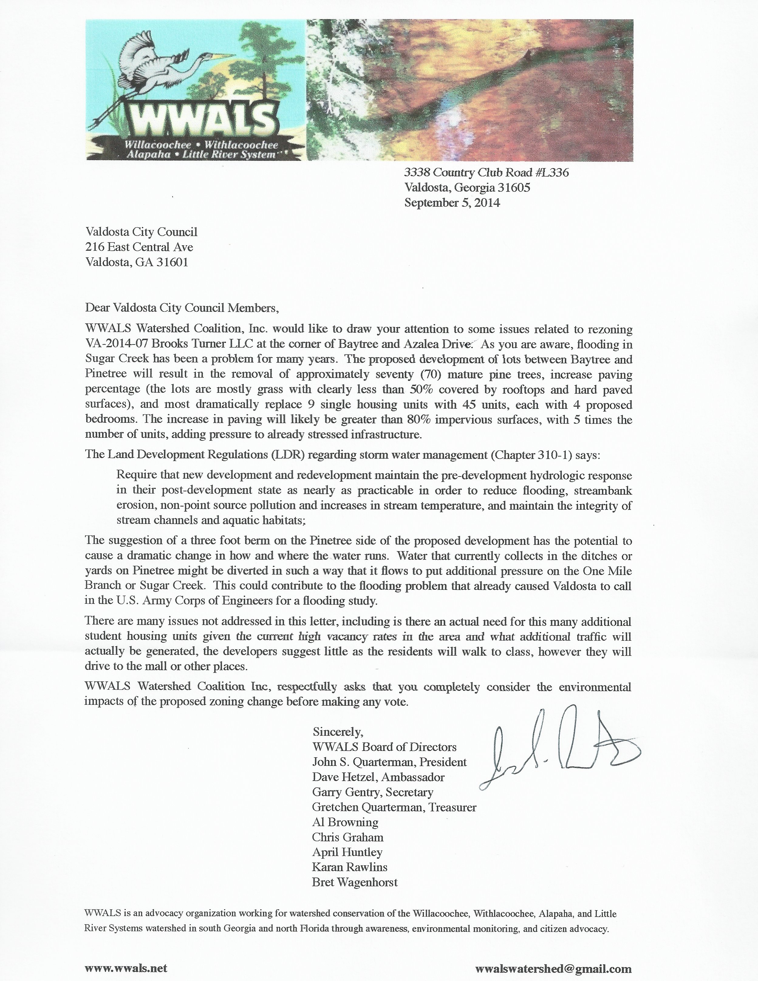 2496x3232 Letter, in Rezoning Water Issues in Valdosta, by WWALS, for WWALS.net, 8 September 2014