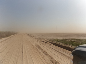 300x225 Dust right up to dirt road, in Dust Storm on Lakeland Sands land in Hamilton County, FL, by John S. Quarterman, for WWALS.net, 25 March 2014