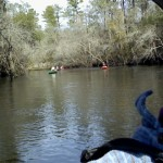 800x480 Selfie with following boats, in Statenville to Sasser Landing on the Alapaha River, by John S. Quarterman, for WWALS.net, 15 February 2015