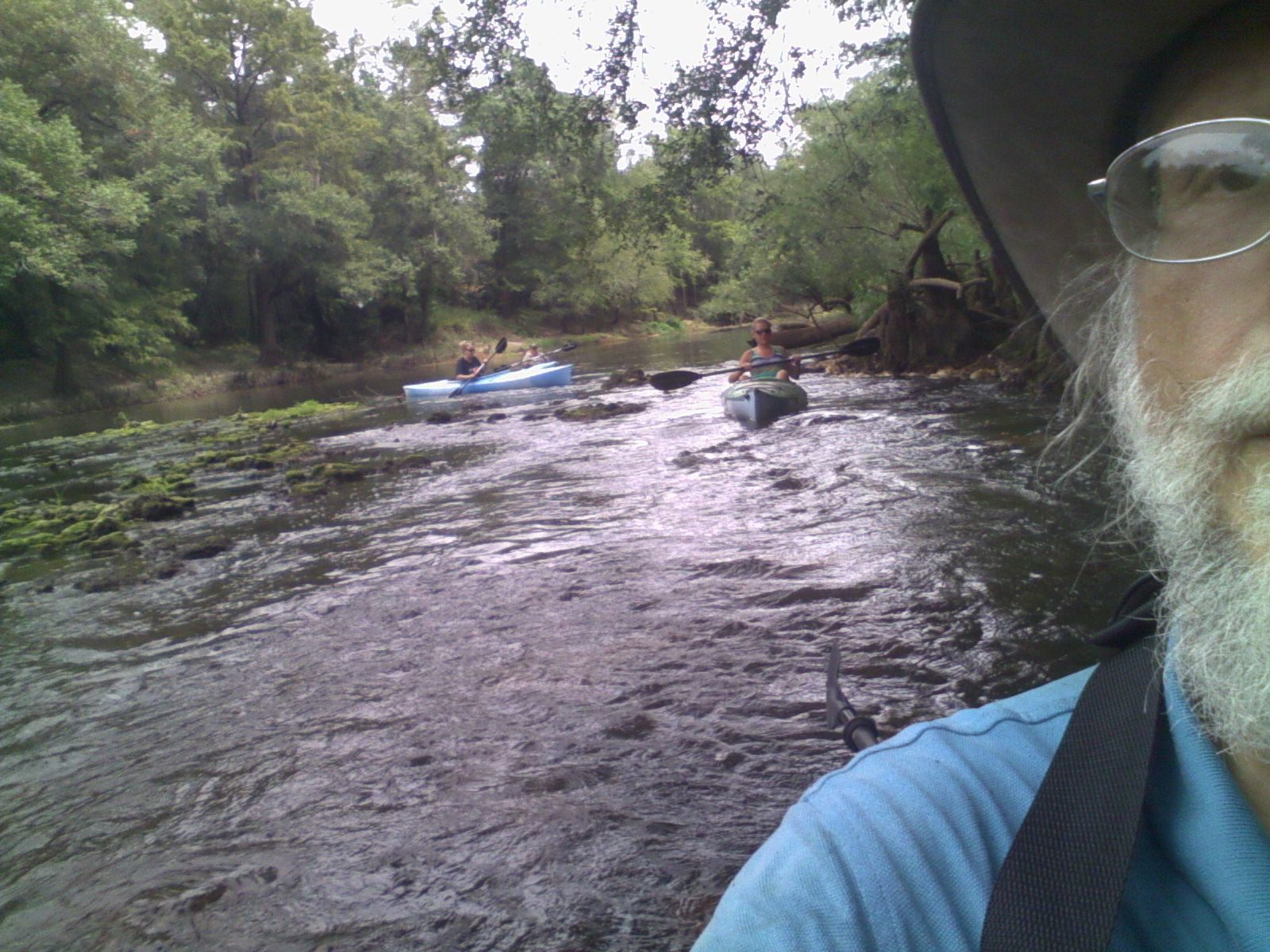 1600x1200 Leslie shoots the rapids 30.7954483, -83.4526749, in Sabal Trail @ Withlacoochee @ US 84, by John S. Quarterman, for WWALS.net, 28 August 2015