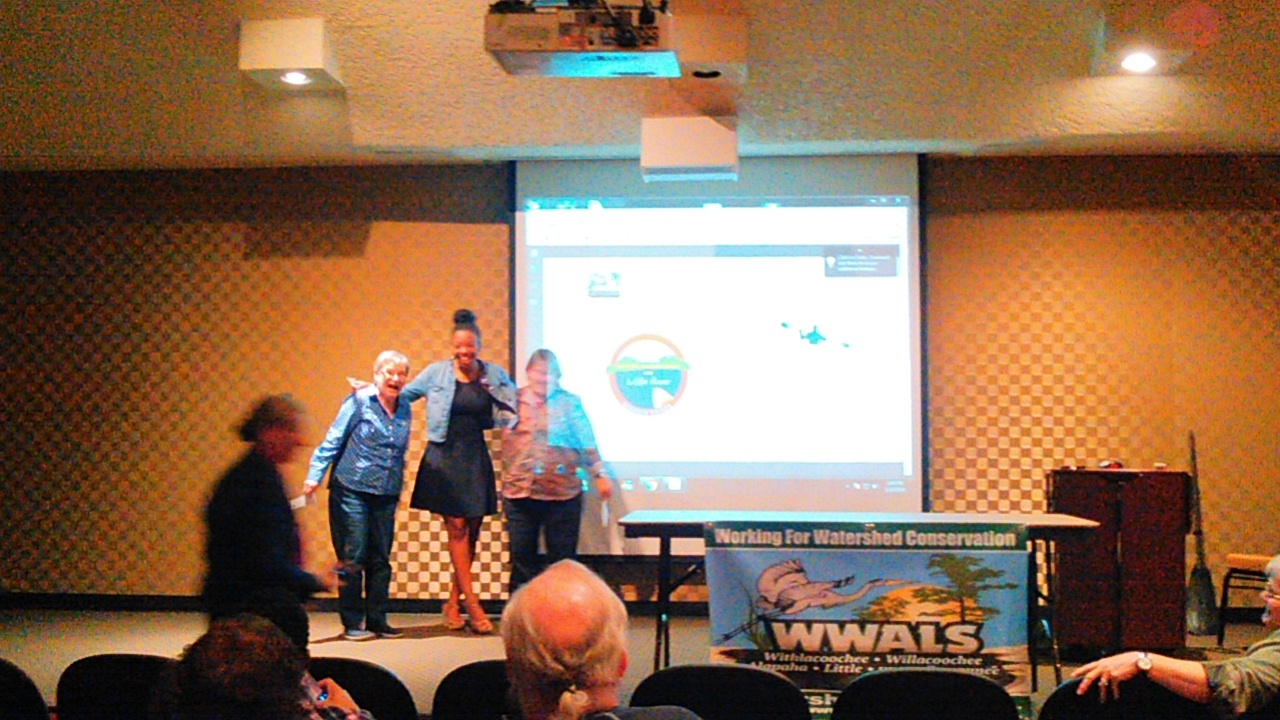 1280x720 Logo winners with Julie Bowland (Gretchen Quarterman, Tom Potter, foreground), in WLRWT Workshop, by John S. Quarterman, for WWALS.net, 27 February 2016