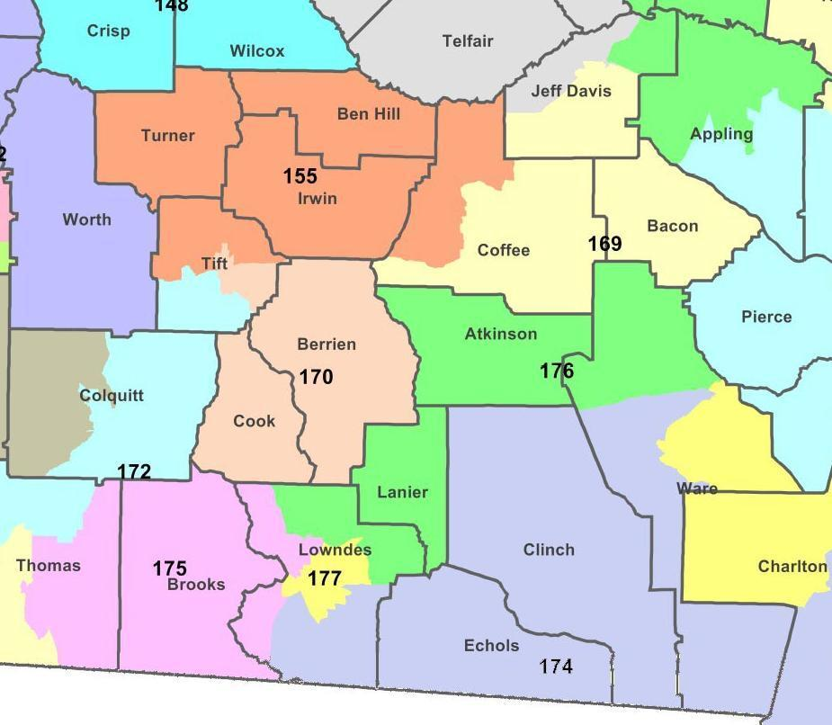 925x806 WWALS counties and districts for Georgia House of Representatives, in Statehouse representatives, by John S. Quarterman, for WWALS.net, 11 March 2016