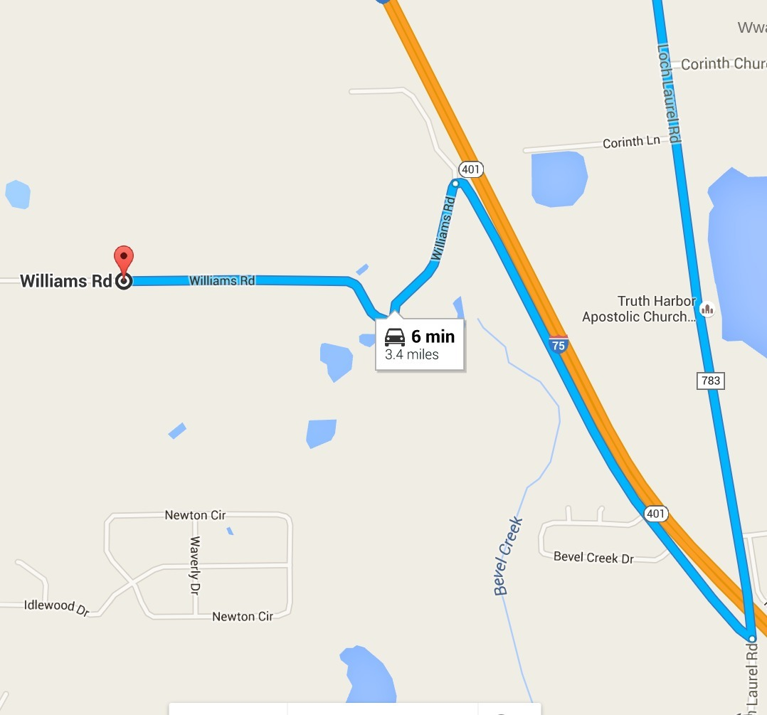 1078x1005 Loch Laurel Road to Williams Road --Google Maps, in Bevel Creek, by John S. Quarterman, for WWALS.net, 25 April 2016