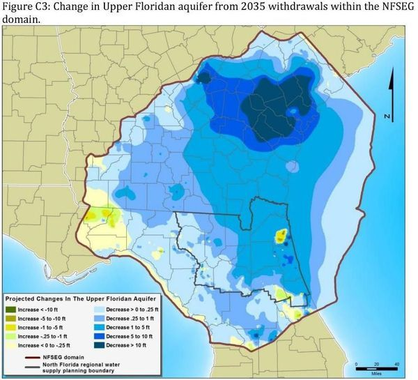 Figure C3: Aquifer surface change due to withdrawals in north Florida and south Georgia