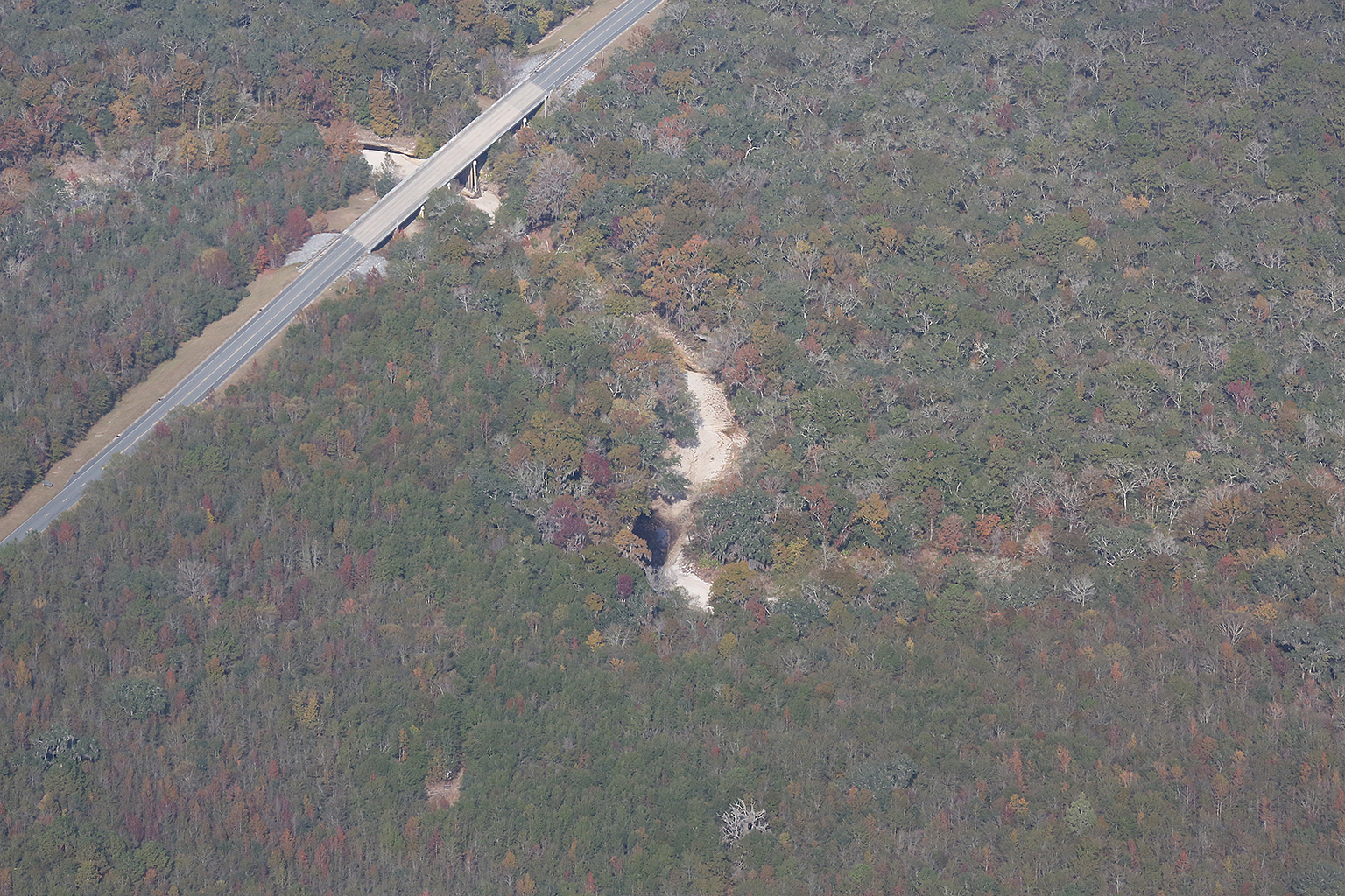 1536x1024 CR 751 bridge, dry Alapaha River, 30.448576, -83.096886, in Aerials: Dry Alapaha River and the Alapaha Rise, by Beth Gammie, for WWALS.net, 23 November 2016
