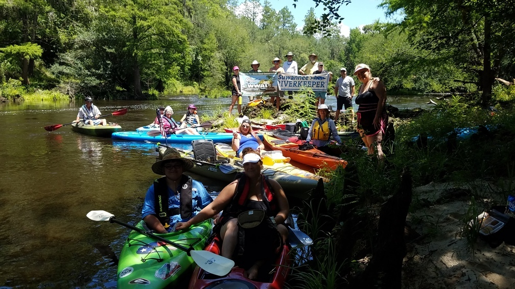 1008x567 Banners picture, 30.5560233, -83.2601457, in A fine day on the Withlacoochee River from Sullivan Landing to Madison Blue Spring, by John S. Quarterman, for WWALS.net, 24 June 2017