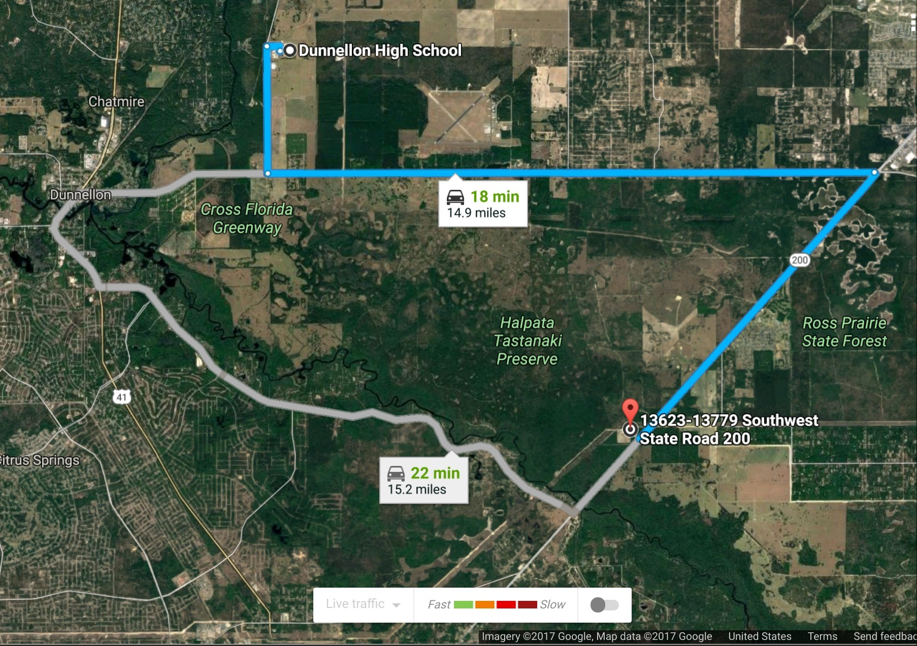 1806x1273 Via FL 200, in Dunnellon High School to Sabal Trail Dunnellon Compressor Station, by John S. Quarterman, for WWALS.net, 31 July 2017
