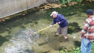 With a yard rake, Tom Potter fishing