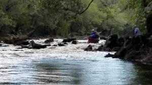 Movie: Tom and Karen shoot the rapids, 13:26:03,, Back to Georgia Shoal 30.6351000, -83.3416700