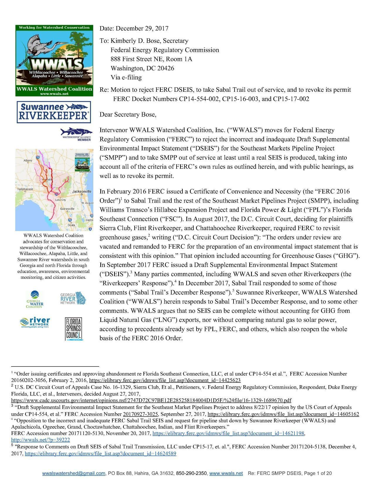 1275x1651 reopen the whole basis of the FERC 2016 Order, Filing, in Motion to reject FERC DSEIS, to take Sabal Trail out of service, and to revoke its permit, by John S. Quarterman, for WWALS.net, 9 December 2017