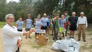 Banner and fourteen picker-uppers, 09:55:21,, Georgia Adopt-A-Stream Cleanup 30.6749200, -83.3939200