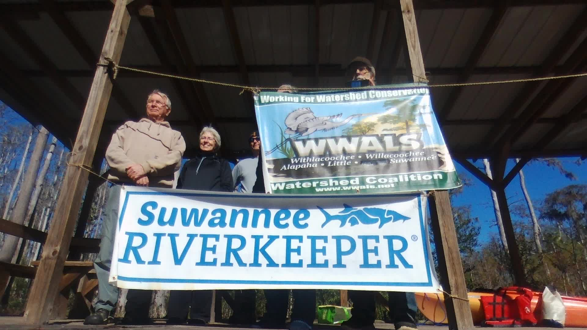 1920x1080 Movie: Banners on Minnie Lake platform, 30.861233, -82.323492, Drone, in One alligator, some turtles, many birds: cold and clear Okefenokee Outing, by John S. Quarterman, for WWALS.net, 10 December 2017