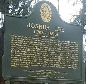 Joshua Lee built the first grist mill...., Entrance
