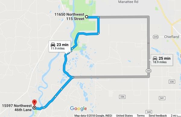 Google Map, Manatee Springs
