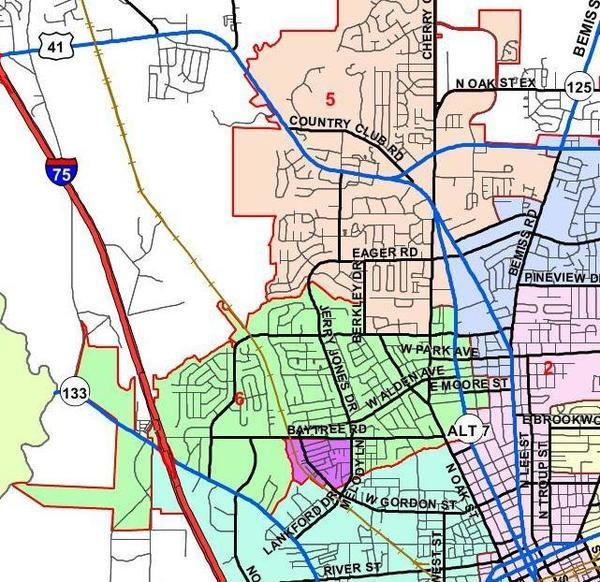 Valdosta City Council districts, Maps